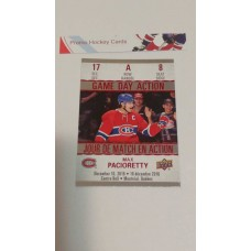 GDA-8 Max Pacioretty Game Day Action Insert Set 2017-18 Tim Hortons UD Upper Deck