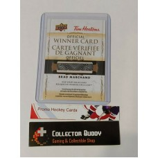 2020-21 Tim Hortons Brad Marchand NHL Jersey Relic Official Winner Card