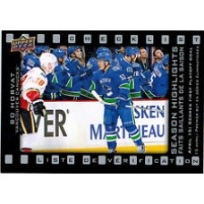SH-6 Bo Horvat Season Highlights Checklist Insert Set Tim Hortons 2015-2016 Collector's Series